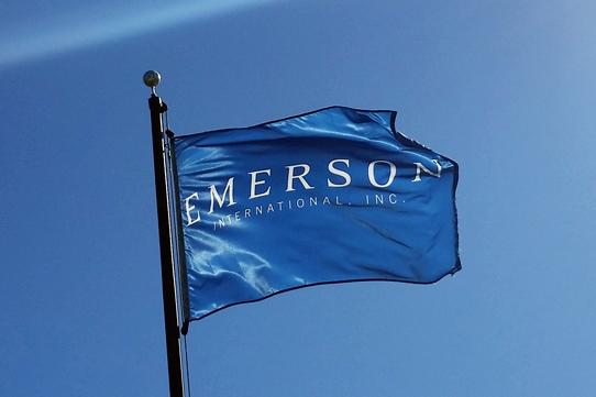 Emerson International Flag Waving in Wind